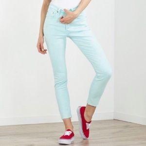 NEW Levi's 501 High Waist Stretch Aqua Skinny Jean